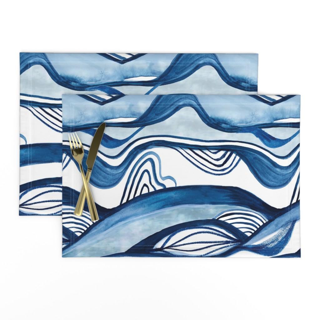 Lamona Cloth Placemats featuring Indigo Shibori Mountain Watercolor by amberelizabethstudio