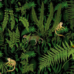 Fern Botanical ~ Deep Nightshade  with Jungle Animals