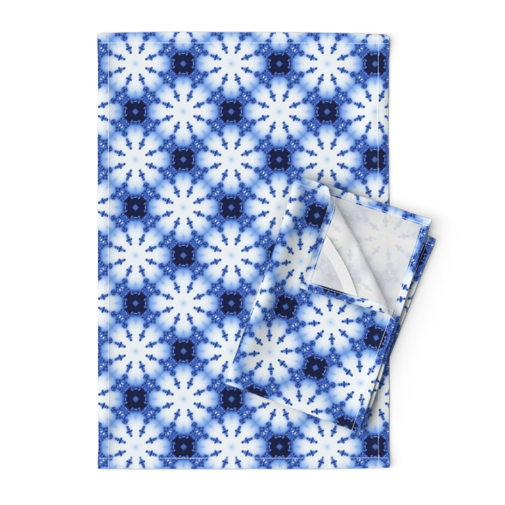 Orpington Tea Towels featuring Fractal Shibori by nadyabasos