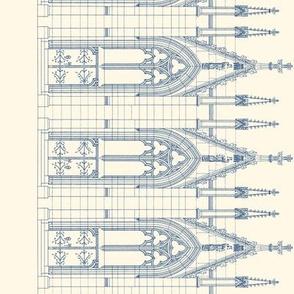 Notre Dame Church Door Border Print ~ Blueprint on Cosmic Latte