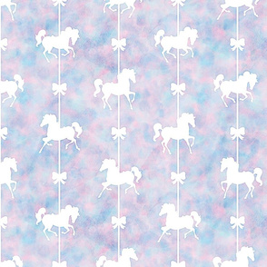 Carousel Pony Pattern in Cotton Candy Watercolor