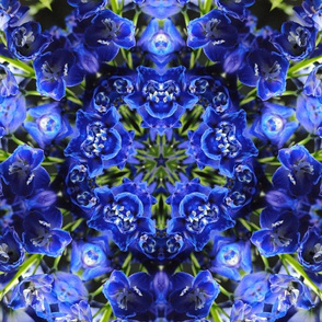 Blue Delphinium Kaleidoscope Fabric