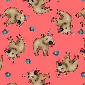 Tapir unicorns and coffee - coral red