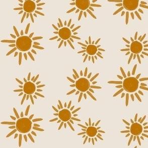 sun sunflower - golden on tan