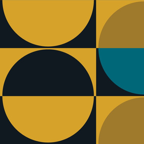 The Gold the Black and the Teal: Half Drop Half Circles