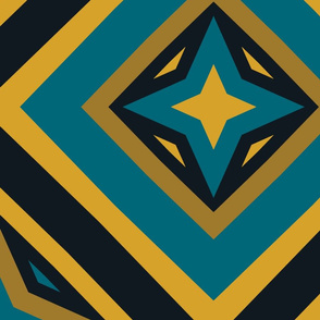 The Gold the Black and the Teal: Four Point Star in a Box