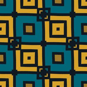 The Gold the Black and the Teal: Fancy Checkerboard