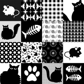 Black Cats Cheater Quilt