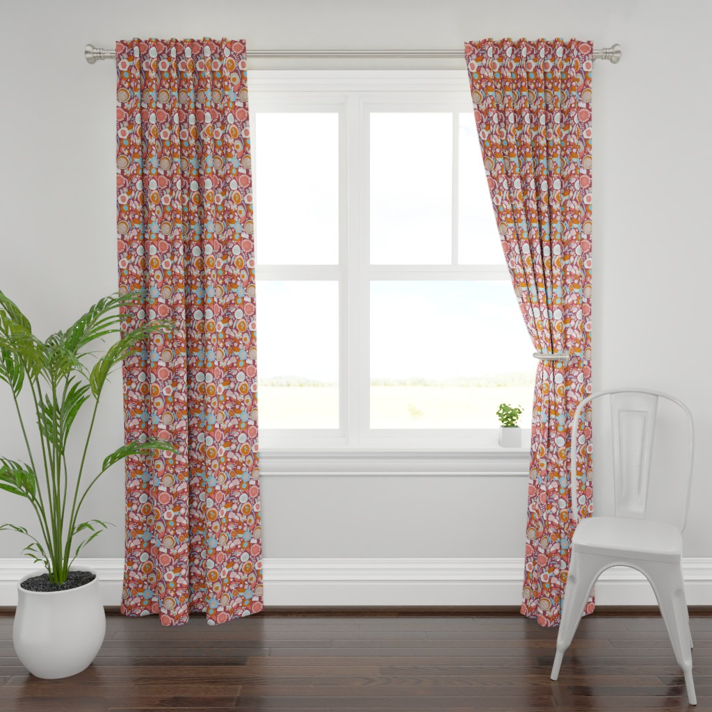 Plymouth Curtain Panel featuring Autumn blooms evening by alexmichiardi