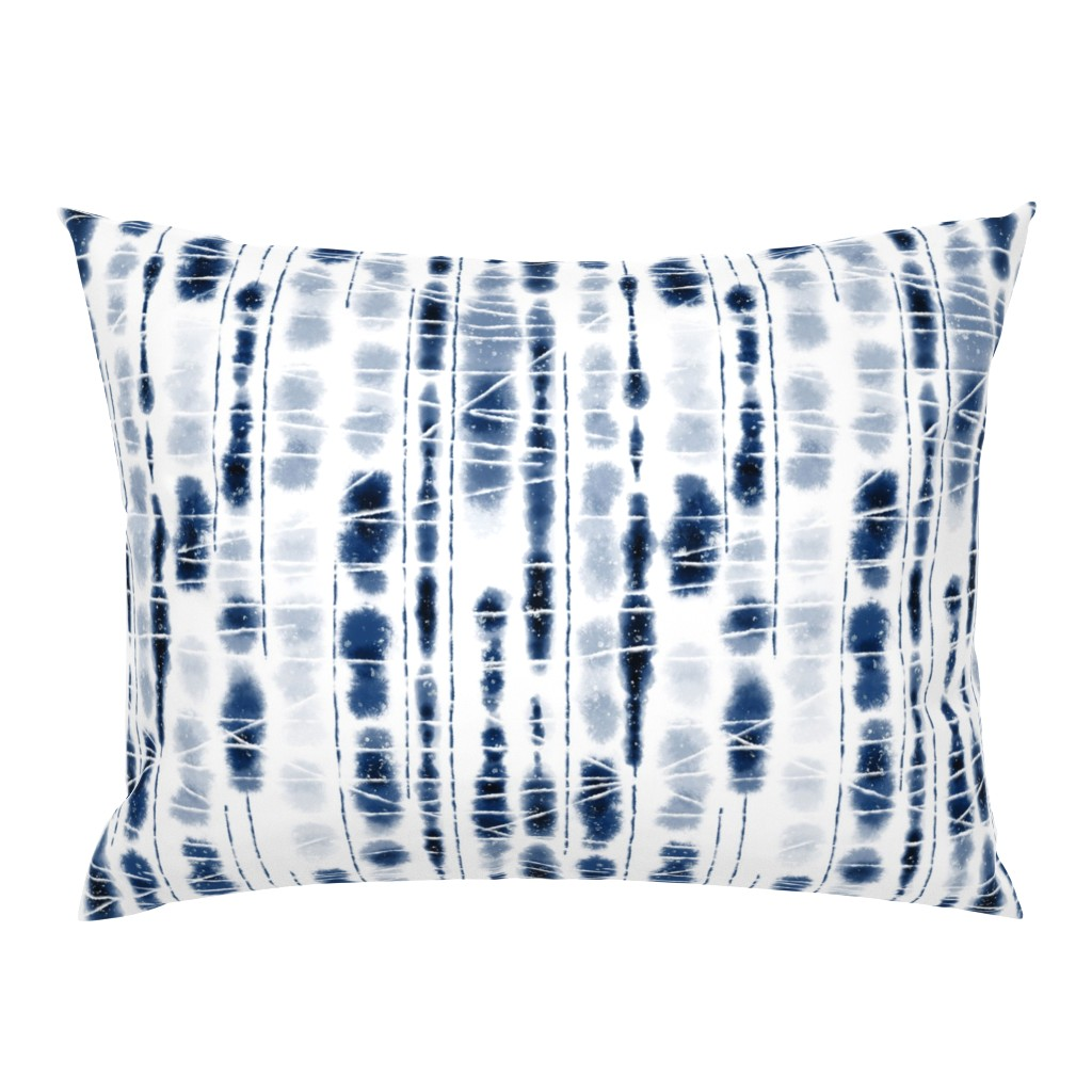 Campine Pillow Sham featuring Shibori Indigo Stripes Large Scale by Angel Gerardo by angelger28