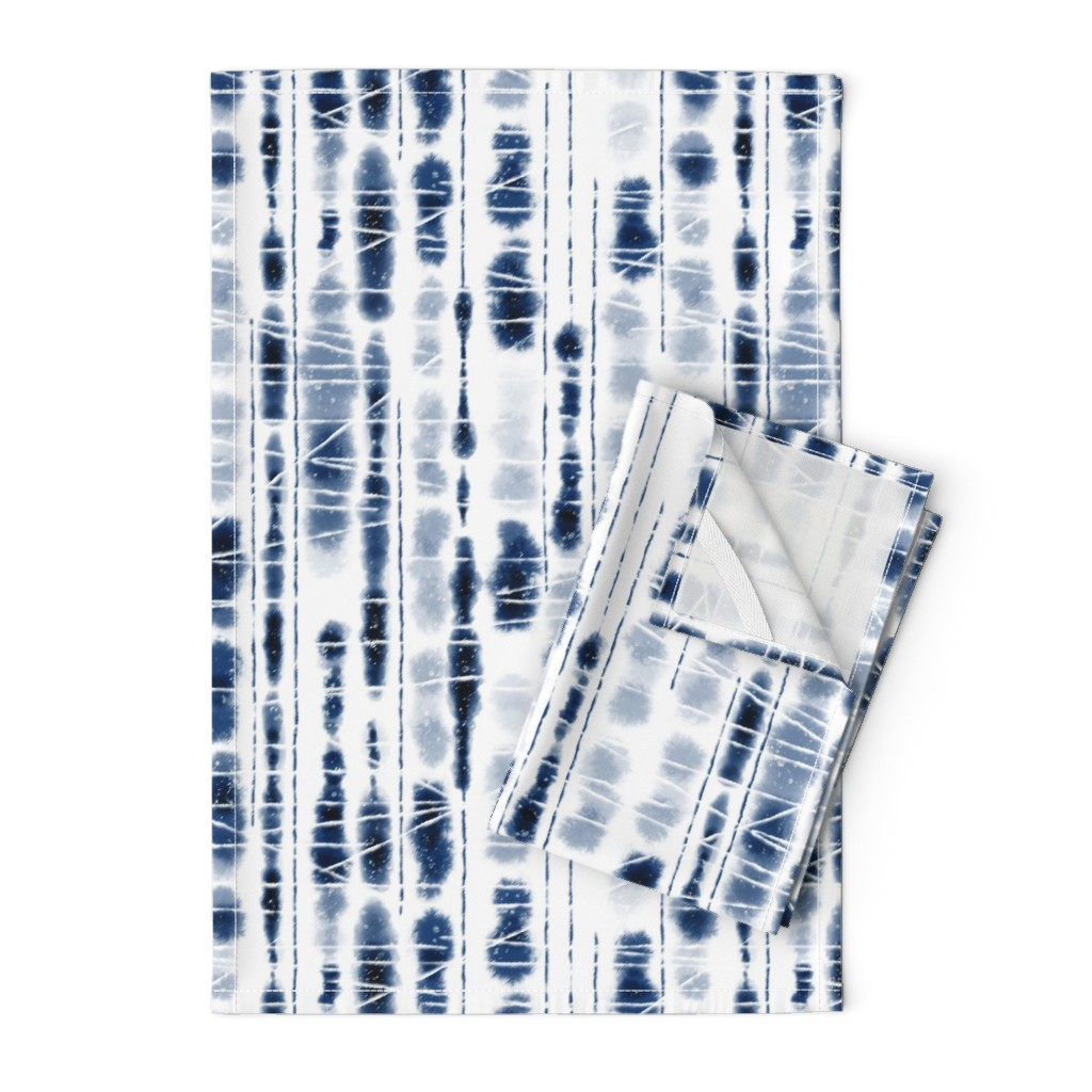 Orpington Tea Towels featuring Shibori Indigo Stripes Large Scale by Angel Gerardo by angelger28
