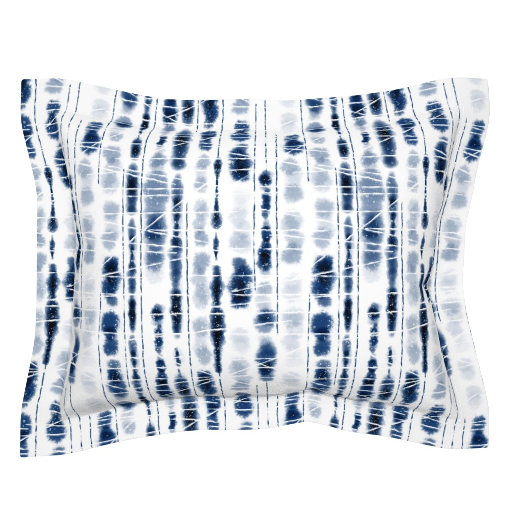 Sebright Pillow Sham featuring Shibori Indigo Stripes Large Scale by Angel Gerardo by angelger28