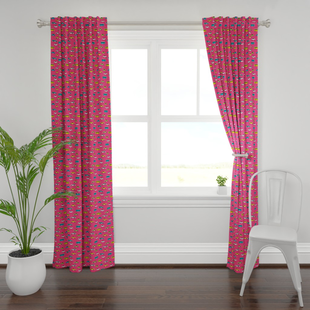 Plymouth Curtain Panel featuring Retro Cars on Pink by denisecolgan