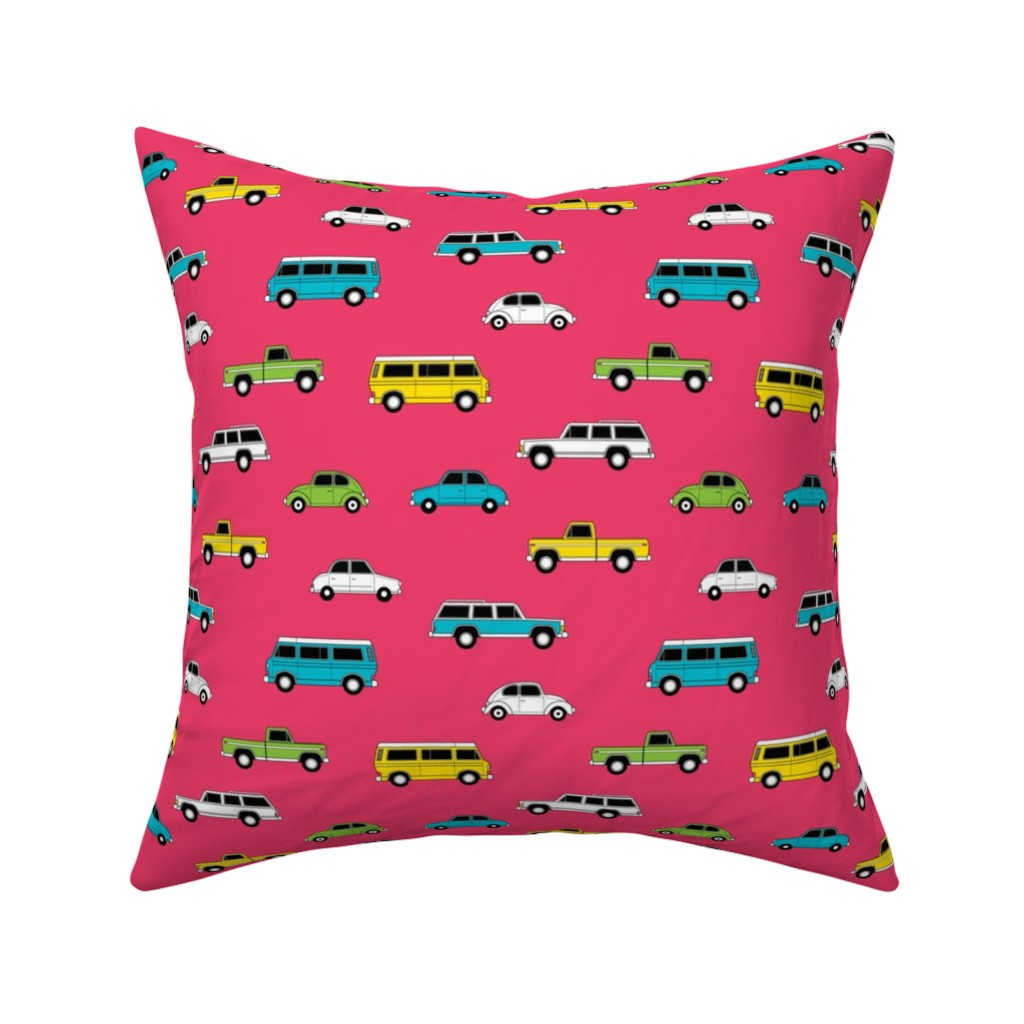 Catalan Throw Pillow featuring Retro Cars on Pink by denisecolgan