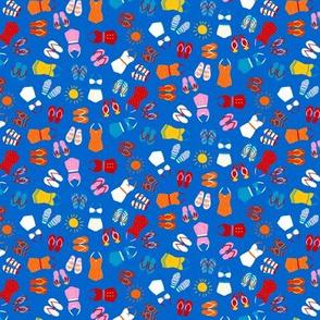 Retro Swim Tiny Ditsy on deep blue