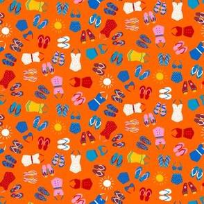 Retro Swim Tiny Ditsy on orange