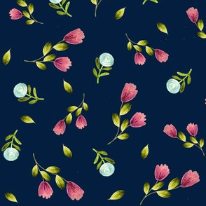 Country Floral (navy) Pink & Blue Flowers, Large scale