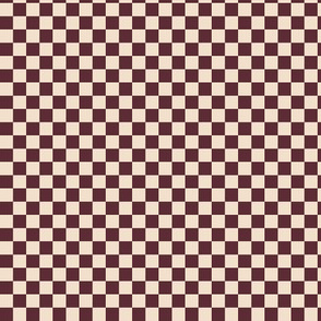 ★ CHECKER ★ Burgundy and White (Ecru) – 1/3 inch / Collection : On fire -Burning Prints