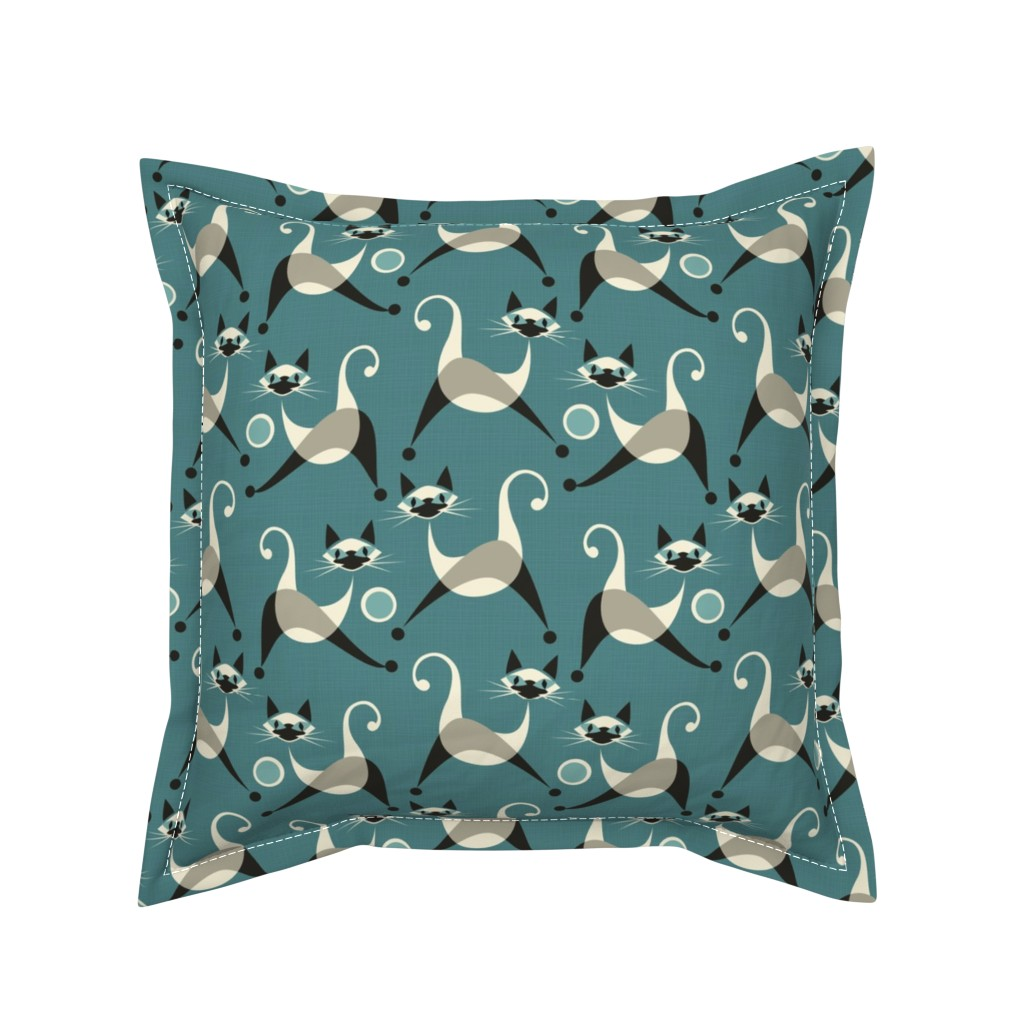 Serama Throw Pillow featuring Siamese Kittens at Play by studioxtine