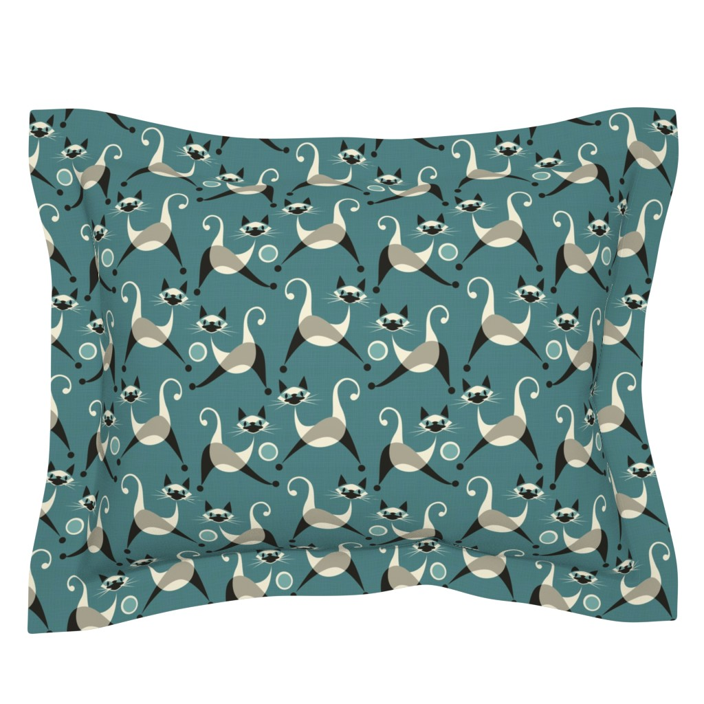 Sebright Pillow Sham featuring Siamese Kittens at Play by studioxtine