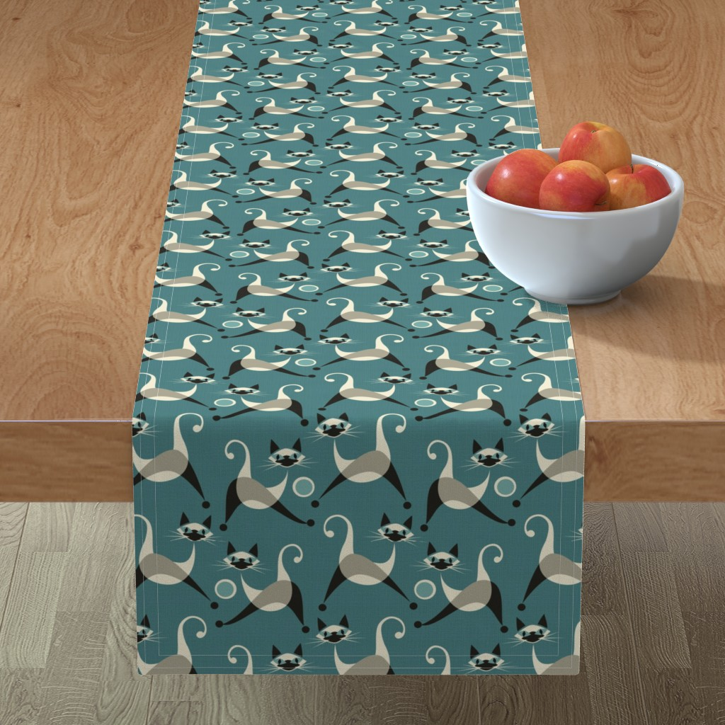 Minorca Table Runner featuring Siamese Kittens at Play by studioxtine