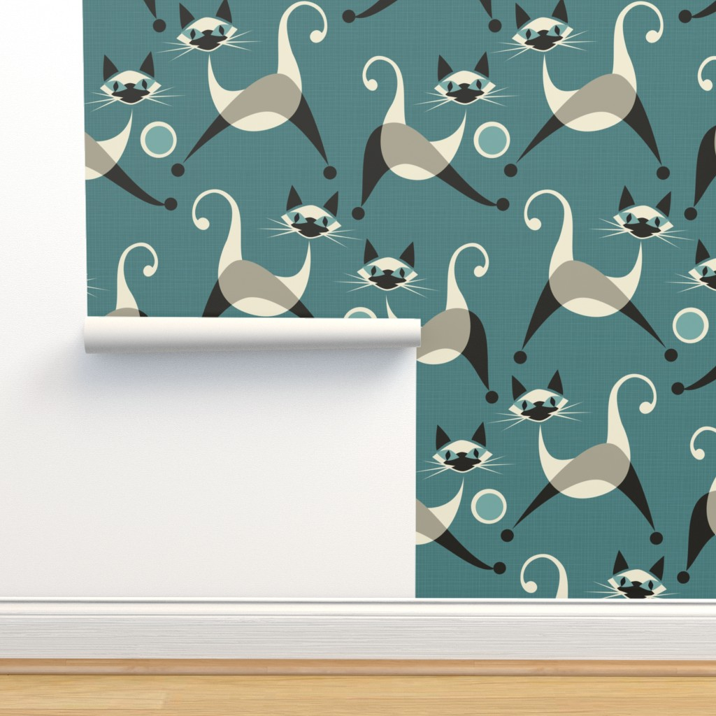 Isobar Durable Wallpaper featuring Siamese Kittens at Play by studioxtine