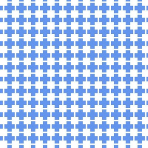 Squares And Crosses White On Cornflower Blue 1:1
