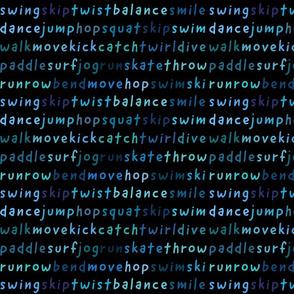 run hop skip twirl dance move smile...