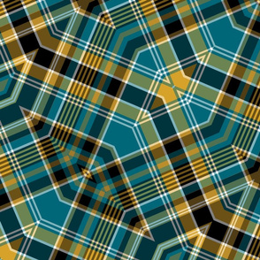 The Gold the Black and the Teal: Diagonal Zig-Zag Plaid
