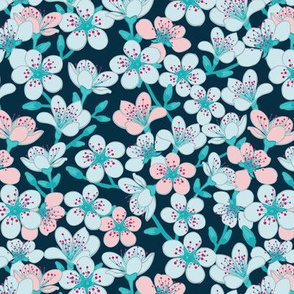Dark blue and cyan floral pattern