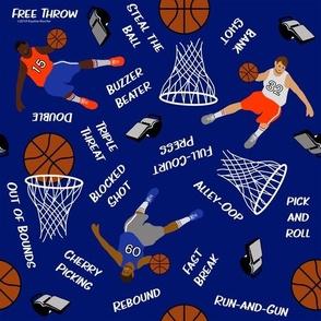 Basketballs and Basketball Terms on Blue