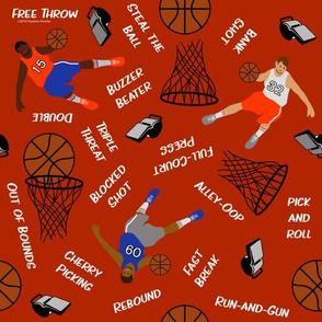 Basketballs and Basketball Terms on Red