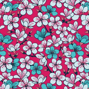 Red and blue floral pattern
