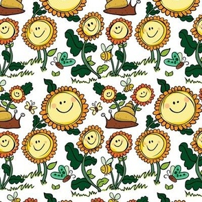 White sunflowers and snails pattern