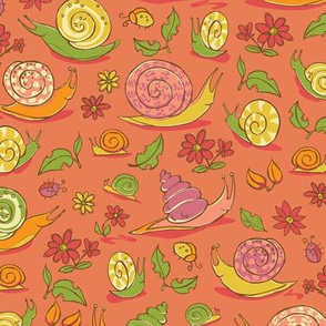 Red multiple snails, flowers and bugs pattern