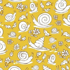 Beige cartoon multiple snails pattern