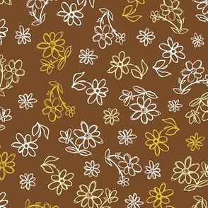 Brown hand drawn flowers pattern