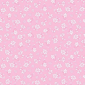 Pink hand drawn tiny flowers pattern