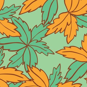 Green and orange leaves pattern
