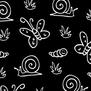 Black and white garden bugs pattern
