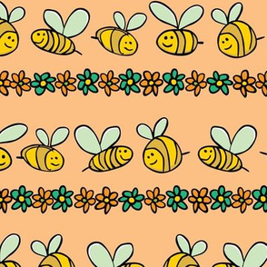 Pastel orange bees and flowers pattern