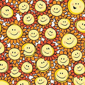 Orange happy sunflowers pattern