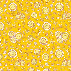 Yellow happy sunflowers texture pattern