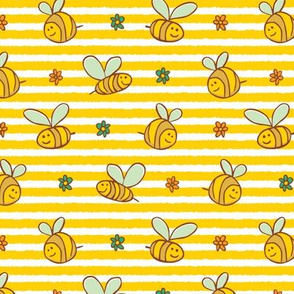 Yellow stripes bees and flowers pattern