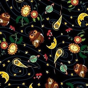Black owl sunflowers comet moon pattern
