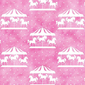 Carousel Pattern on Pink Watercolor