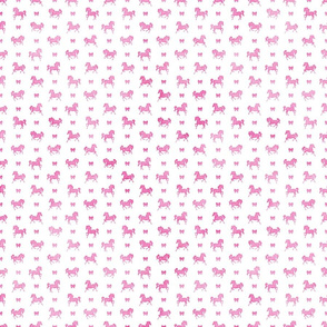 Micro Horses and Bows Pattern Pink Watercolor on White
