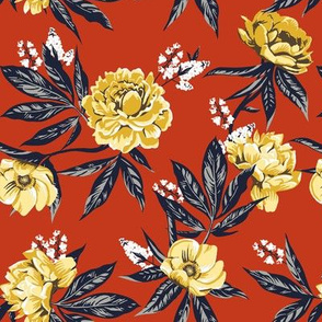 Garden Floral - Burnt Orange