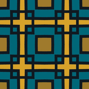 The Gold the Black and the Teal - Square Upon Square_With Black