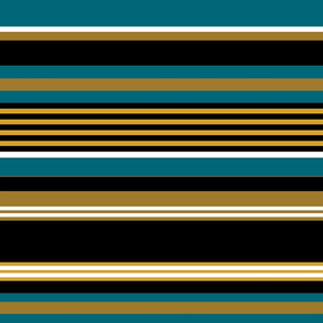 The Gold the Black and the Teal: Horizontal Stripes with White